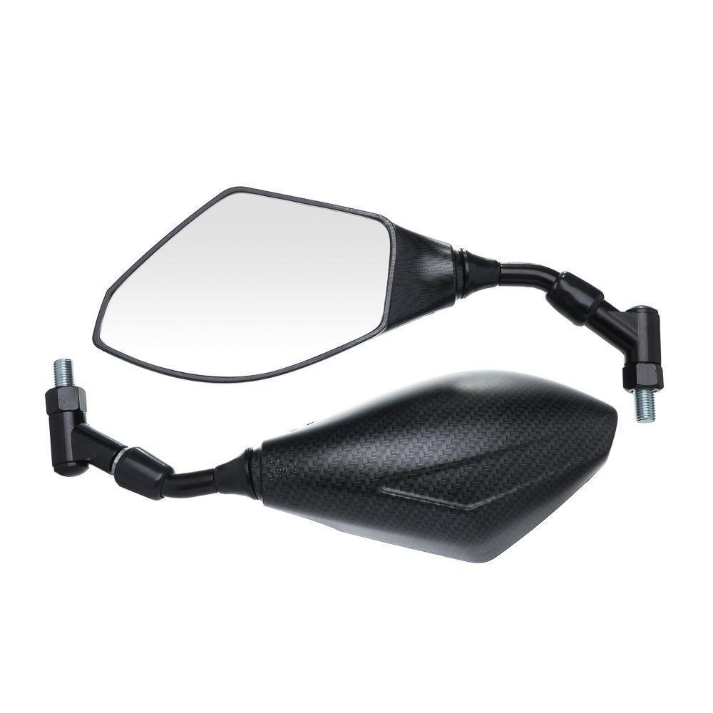Espelho Retrovisor Esportivo Full Carbono Moto X Fosco Hexagonal Universal Rosca 10Mm