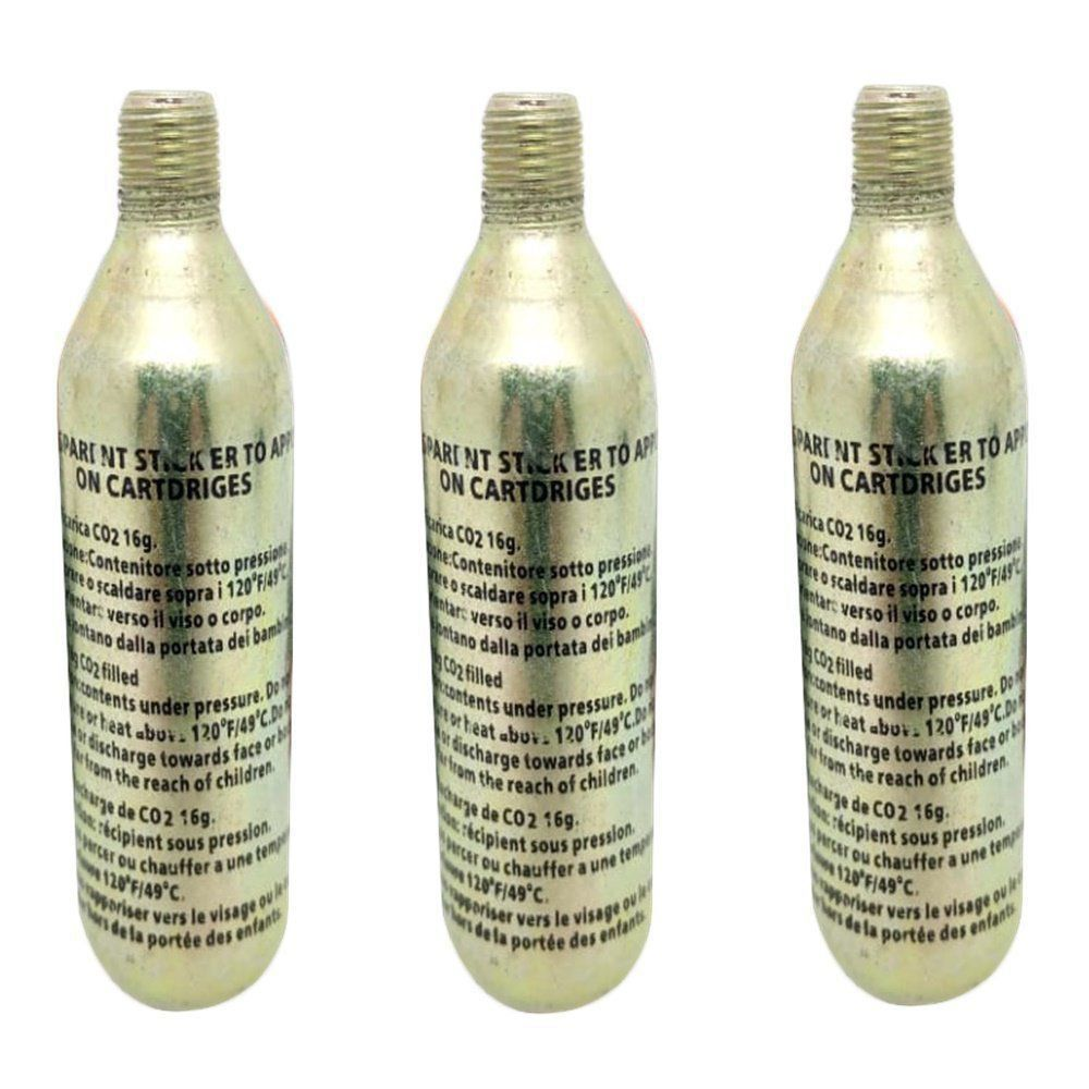 Kit 3 garrafas Co2 16g Refil Remendo Pneu E Jaqueta Air Bag One
