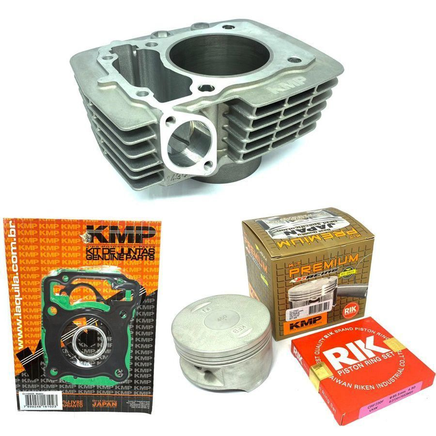 Kit Completo Pistão Kmp Premium Cg 150 P/ 220cc Cilindro Juntas