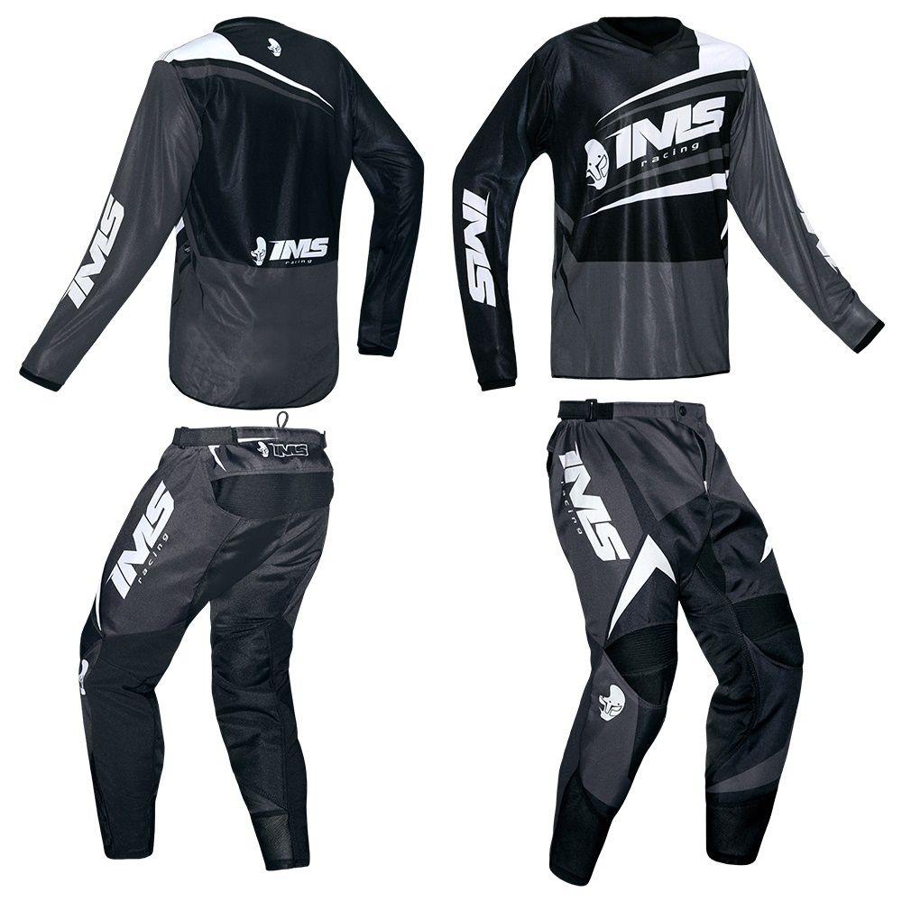 Kit Conjunto Ims Flex Preto Cinza Calça e Camisa Motocross Trilha