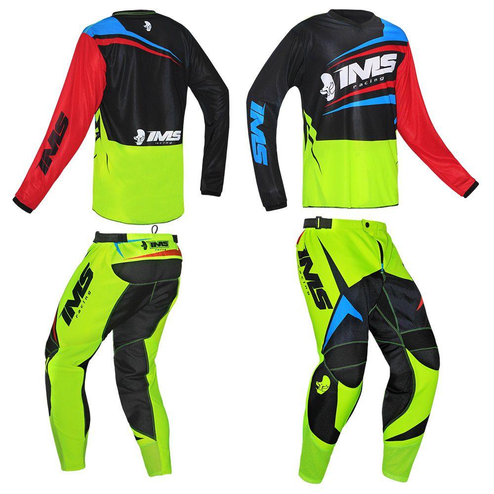 Kit Conjunto Ims Flex Vermelho Flúor Azul Calça e Camisa Motocross Trilha