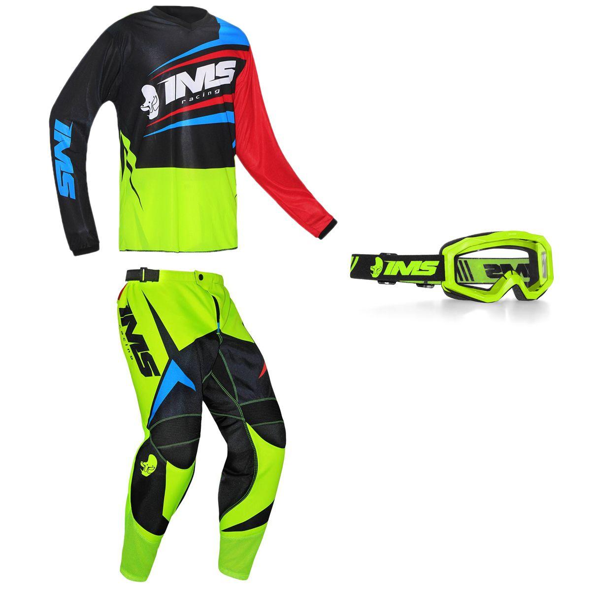 Kit Conjunto Roupa Ims Flex Calça Camisa Óculos Amarelo Flúor Motocross Trilha