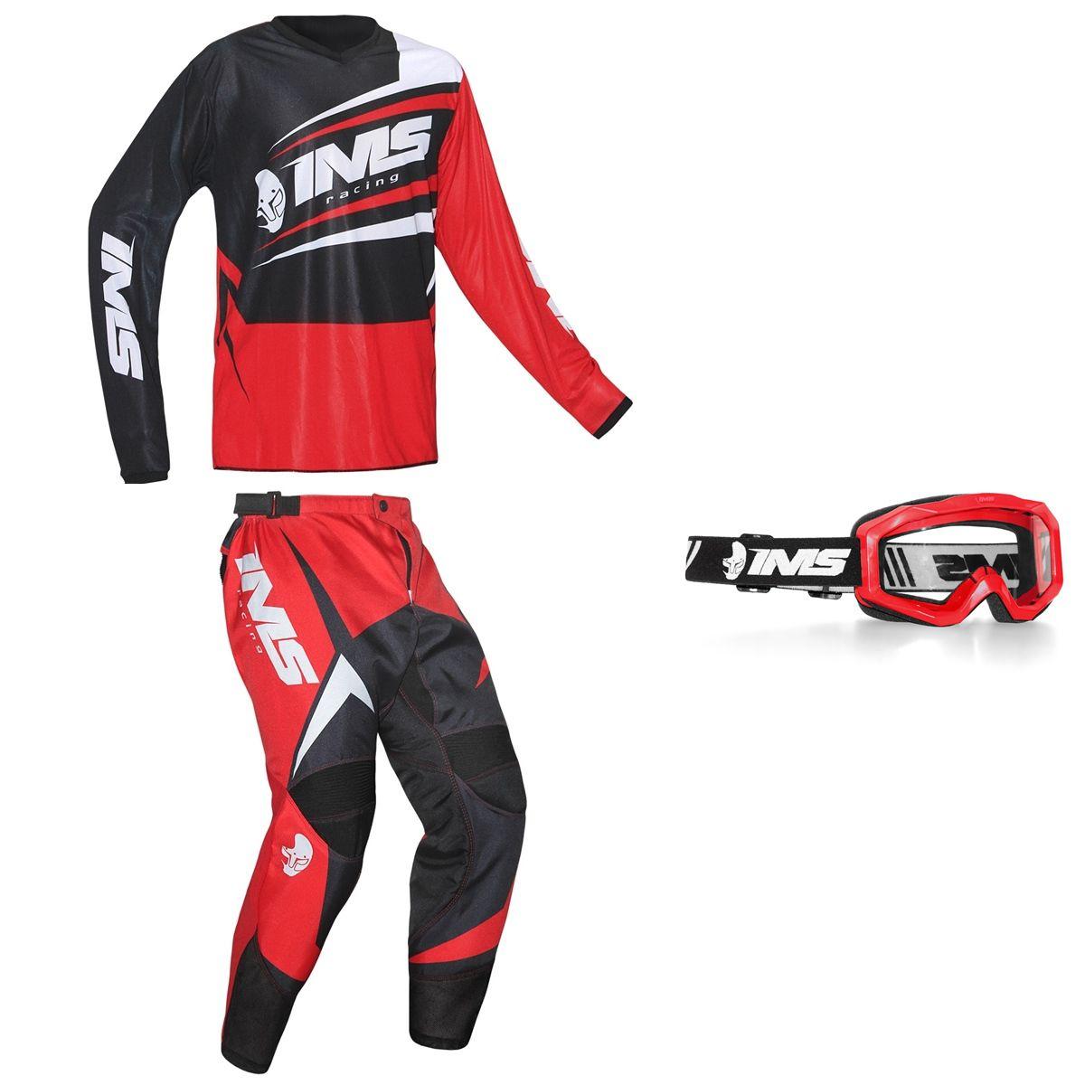 Kit Conjunto Roupa Ims Flex Calça Camisa Óculos Vermelho Trilha Motocross