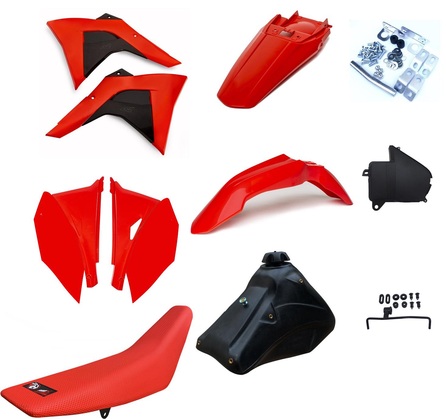 Kit Plástico Amx Adaptável Crf 230 P/ Xr 200/250 Bros 125/150