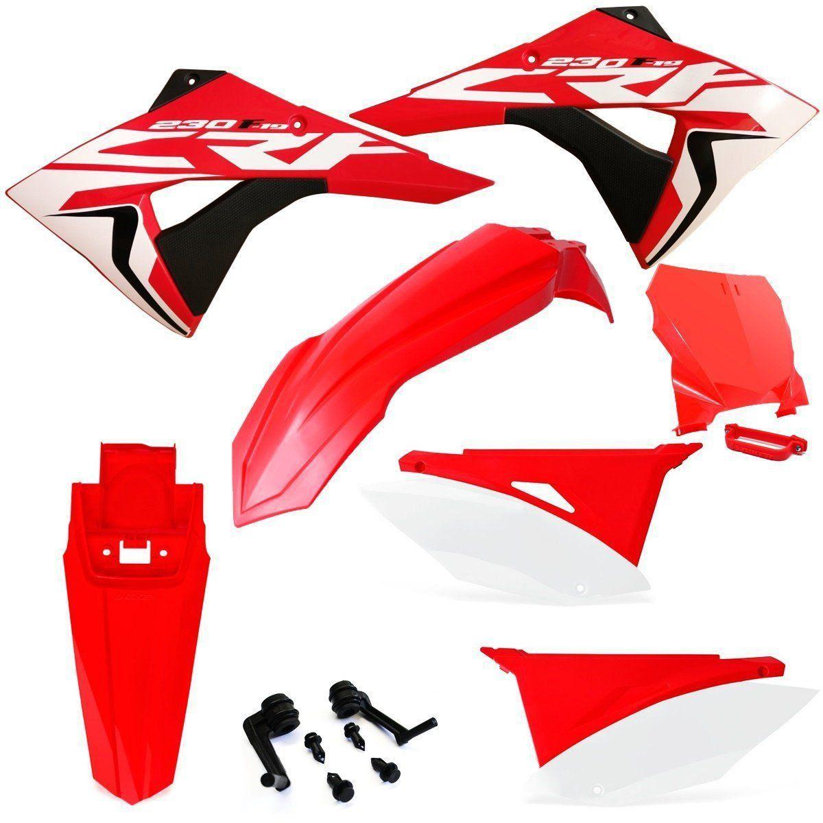 Kit Plástico Biker Elite Honda Crf 230 2008 a 2019 Com Number Plate e Adesivos
