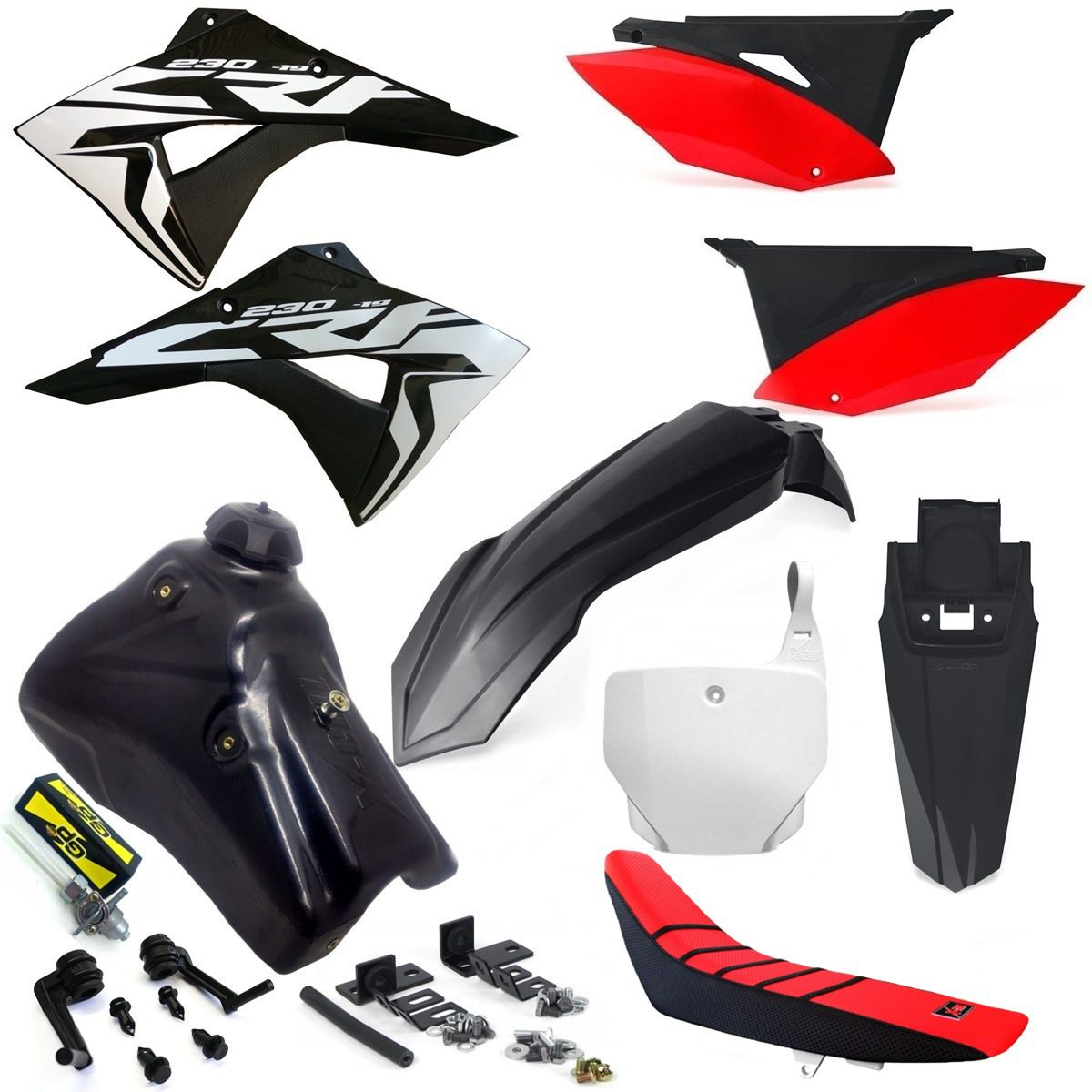 Kit Plástico Number X cell Crf 230 07... Tanque 7 Litros Torneira Gp