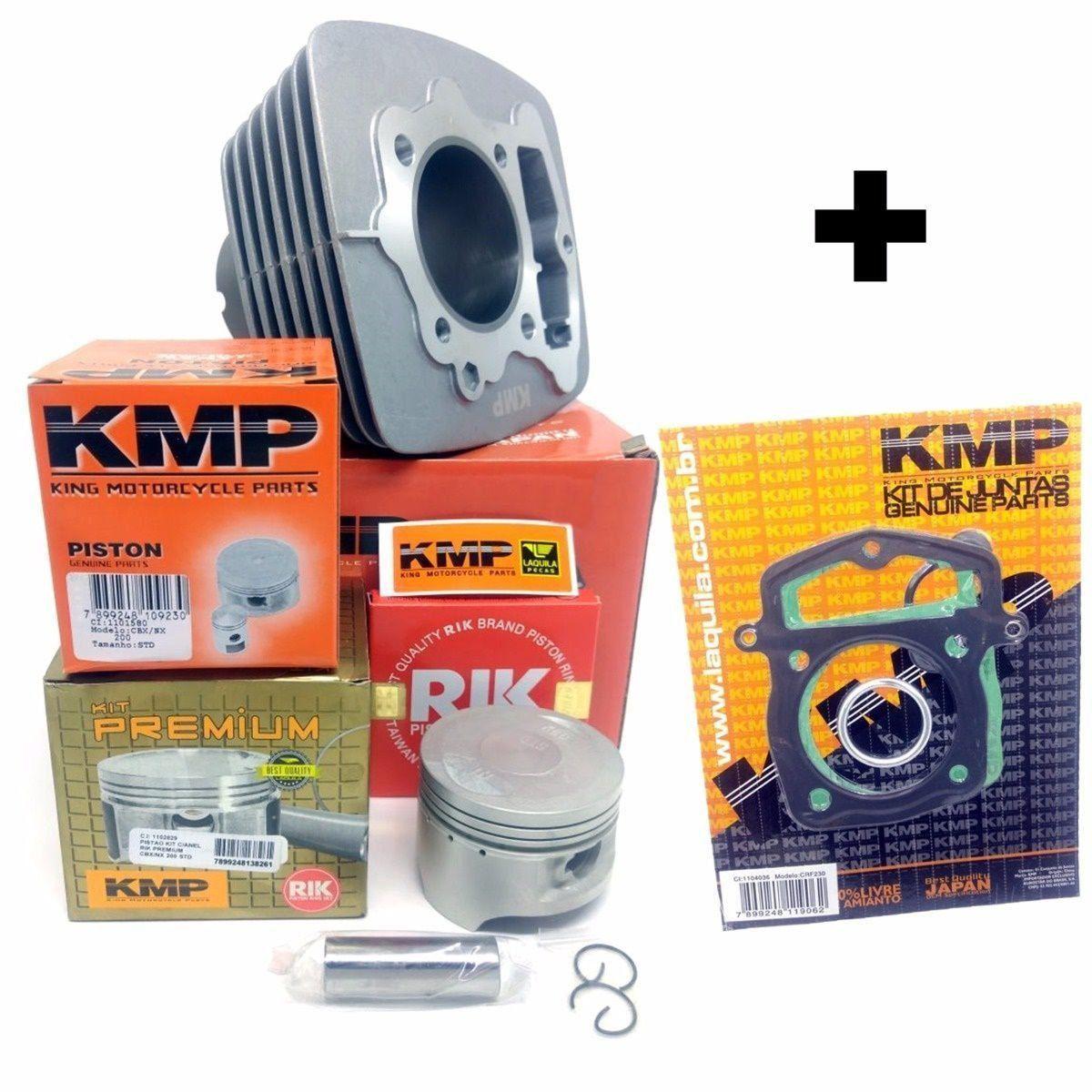 Kit Completo Cilindro Pistão Junta Kmp Premium Anel Rik Cbx 200 Strada Xr 200 Nx 200