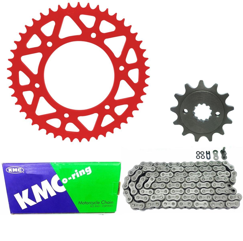 Kit Relação Pinhão Coroa Vermelho Corrente Kmc 520 116L Crf 230