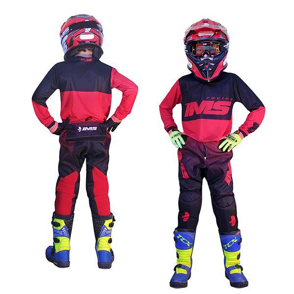 Kit Roupa Ims Army Vermelho Calça Camisa Infantil Motocross