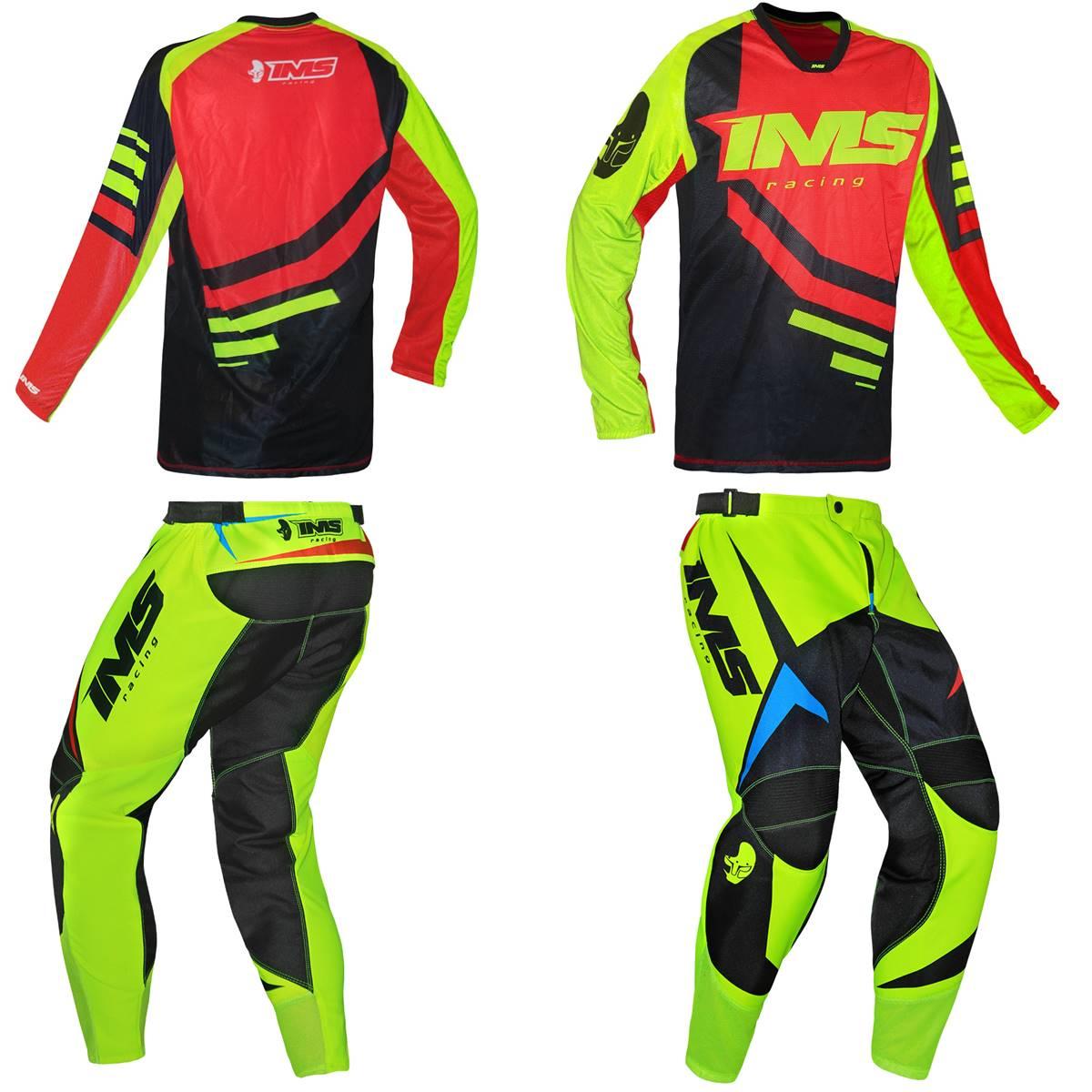 Kit Roupa Ims Camisa Sprint Calça Flex Amarelo Flúor Vermelho Preto Motocross Trilha