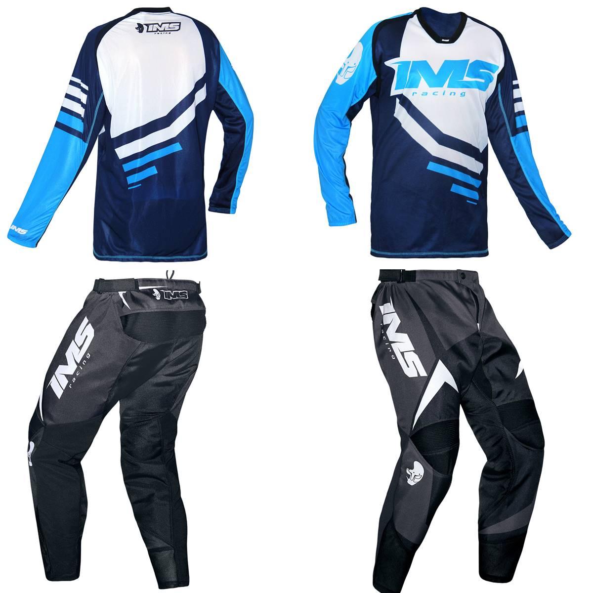 Kit Roupa Ims Camisa Sprint Calça Flex Azul Preto Motocross Trilha