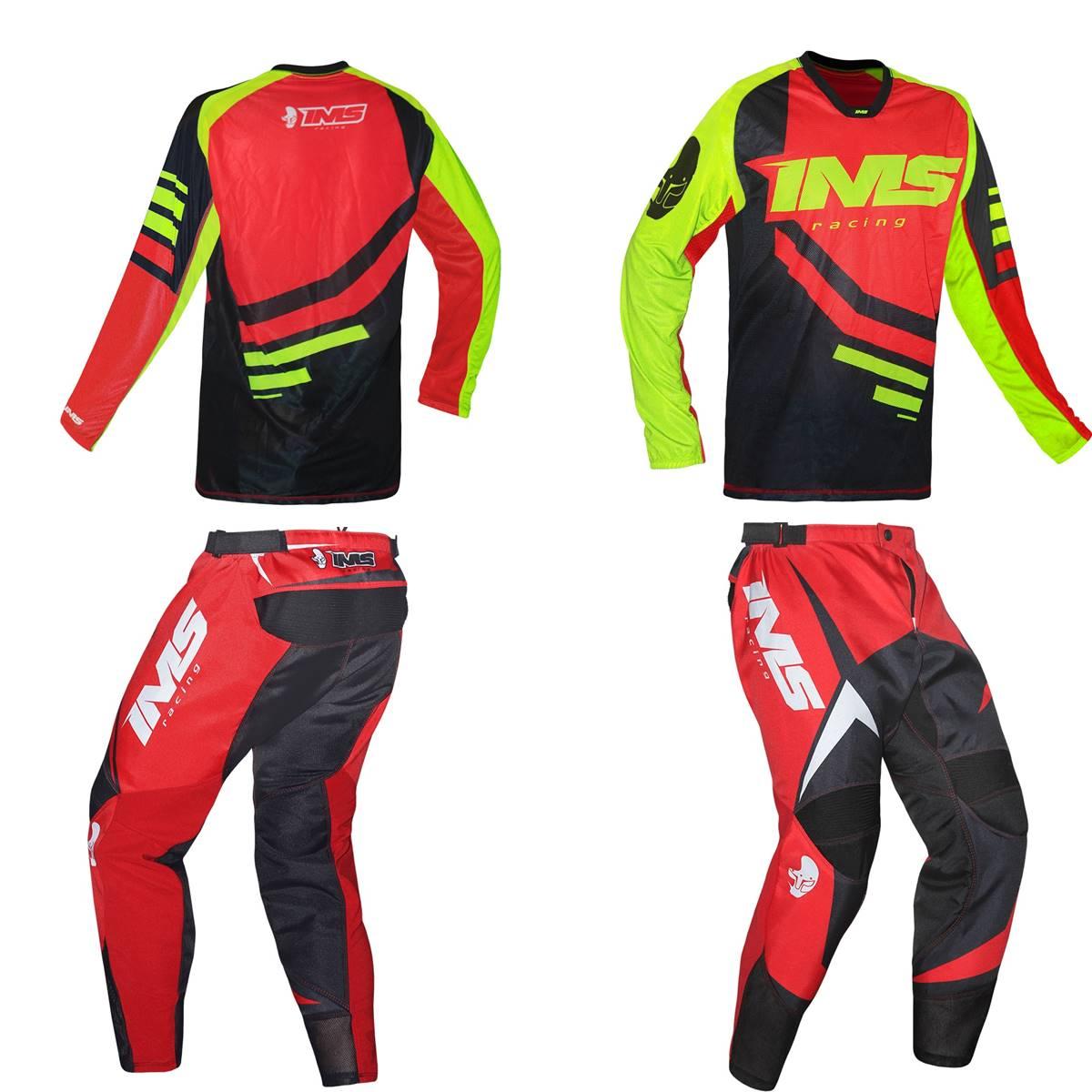 Kit Roupa Ims Camisa Sprint Calça Flex Preto Flúor Vermelho Motocross Trilha