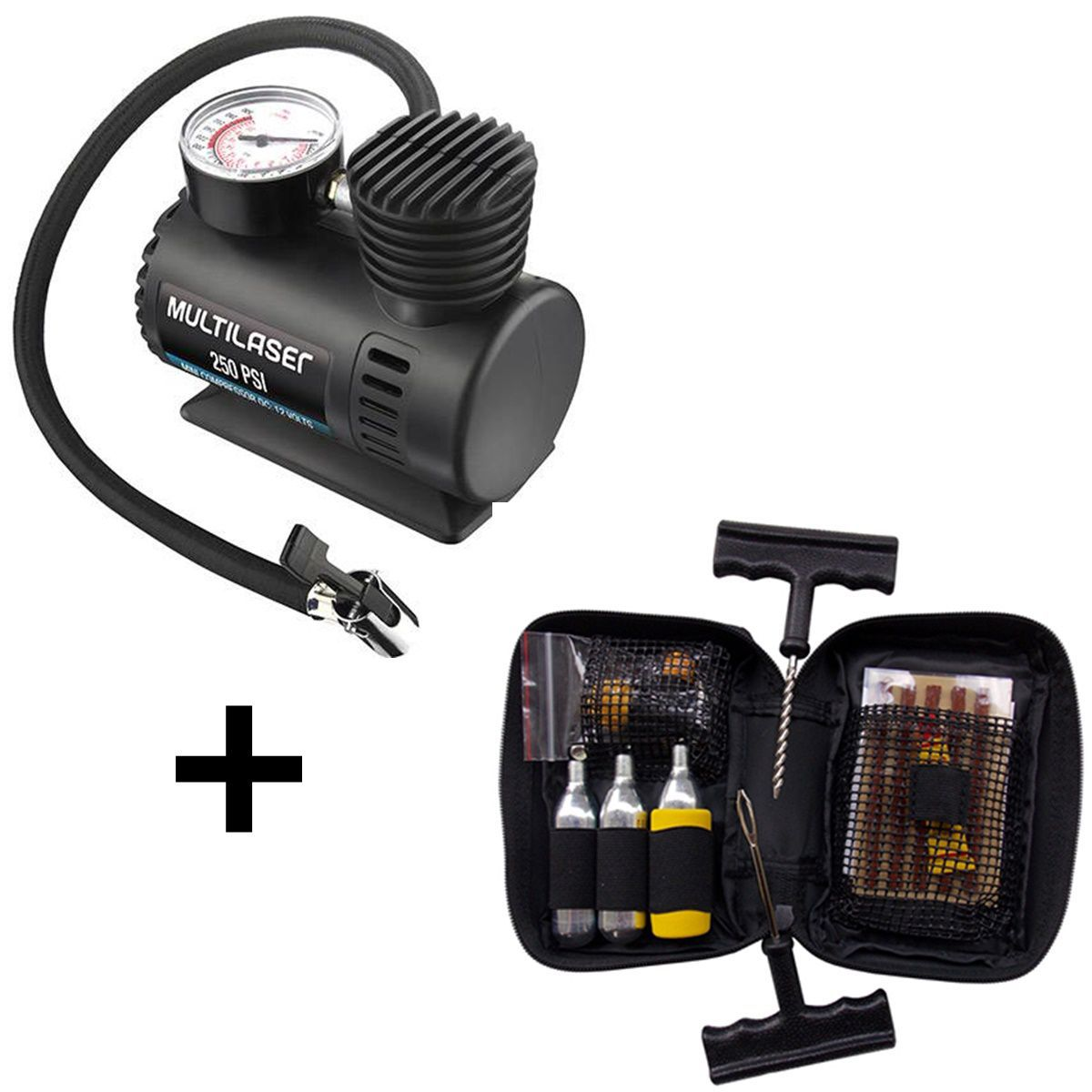 Kit Viagem Compressor Multilaser Com Kit Remendo Pneu Bering