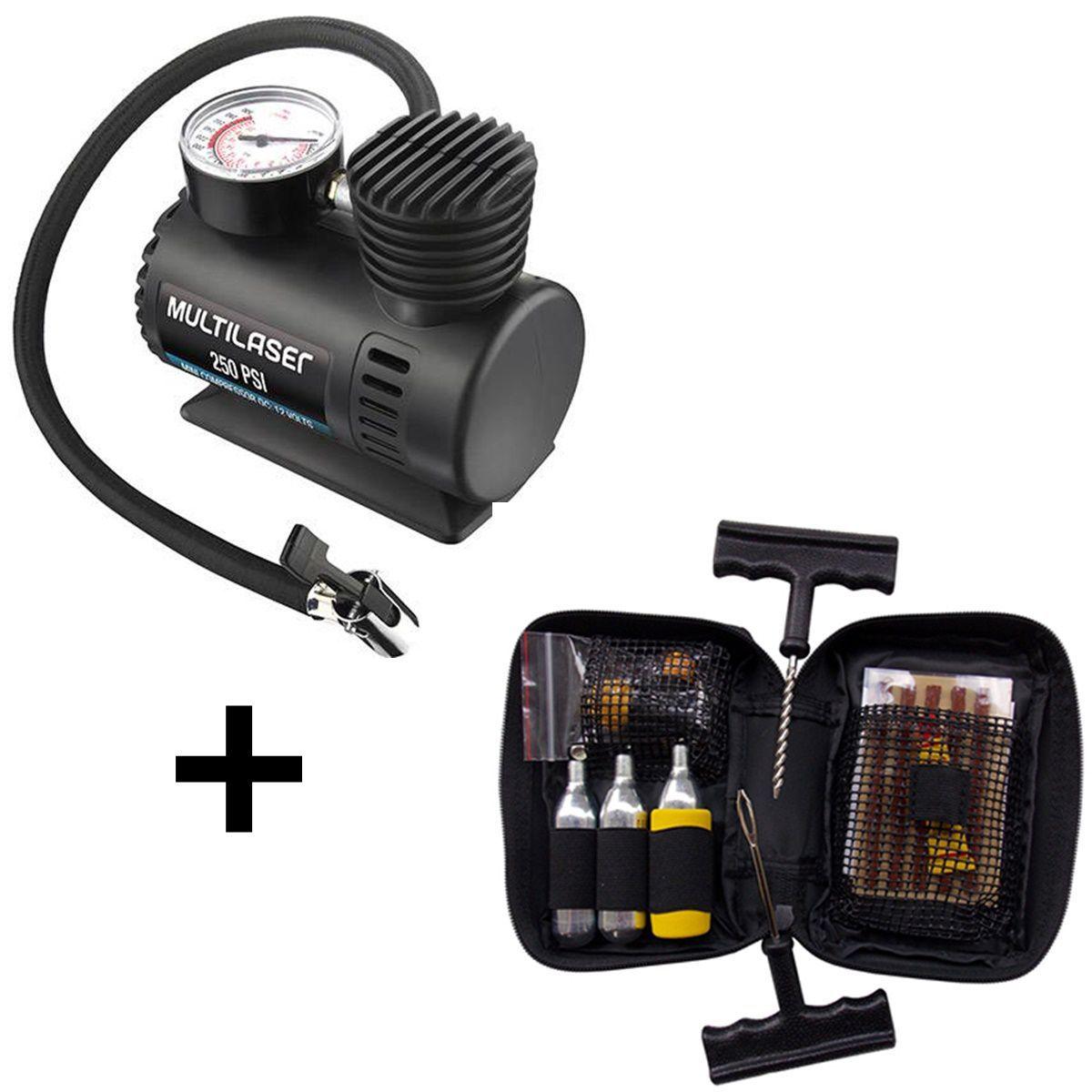 Kit Viagem Compressor Multilaser Com Kit Remendo Pneu Bering