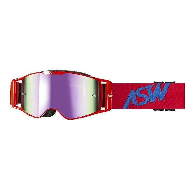 Óculos Asw A3 Matrix Vermelho Azul Trilha Motocross Enduro