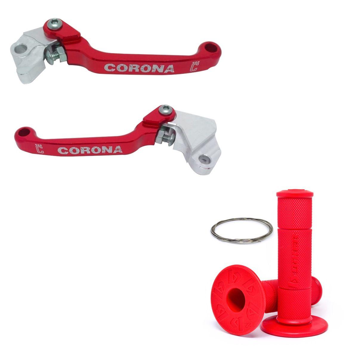 Par Manete Retrátil Corona Crf 230 Crf 250f Com Manopla Biker