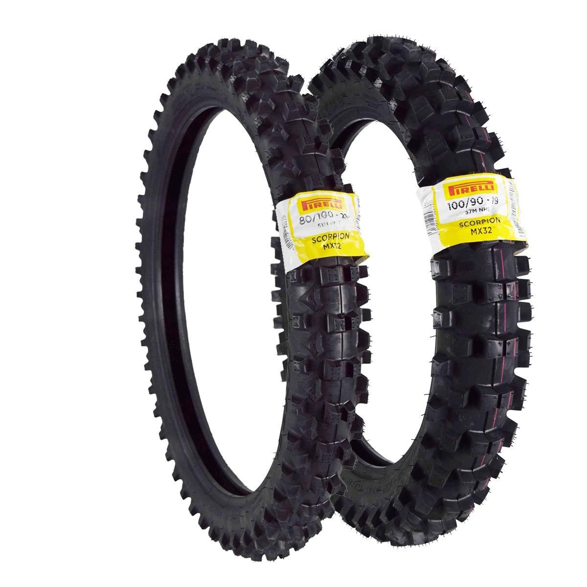 Par Pneu Pirelli Scorpion Mx 32 Mid Soft 100/90-19 Traseiro 80/100-21 Dianteiro