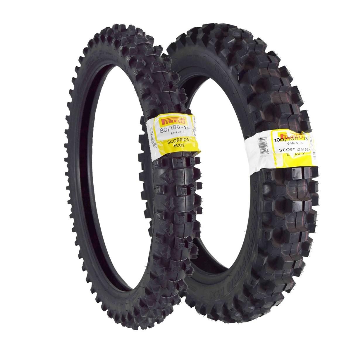 Par Pneu Pirelli Scorpion Mx 80/100-21 Dianteiro 100/100-18 Traseiro