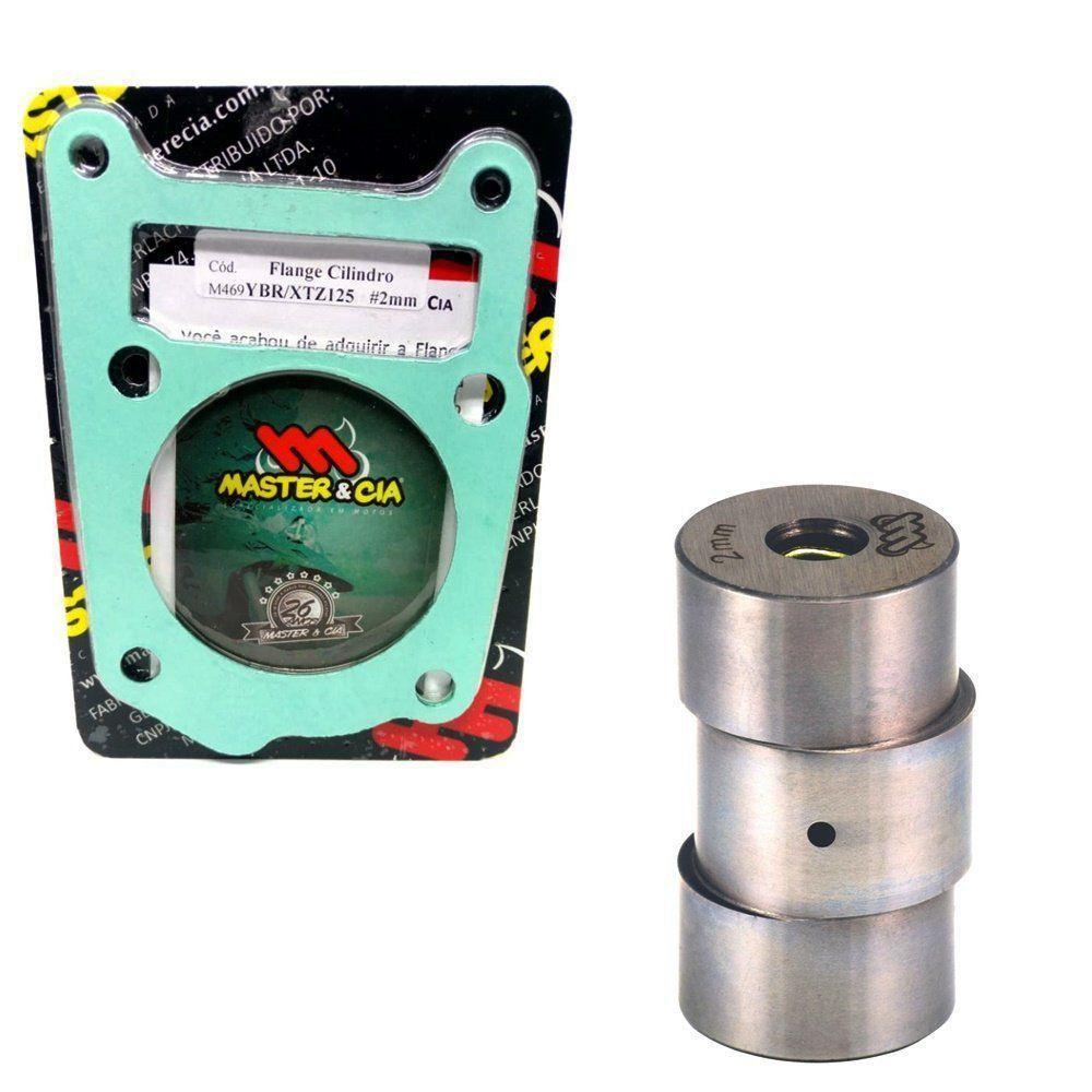 Pino Cursado 2mm Master Cia Com Flange cilindro e Juntas Xtz 125 Ttr 125 Ybr Factor 125