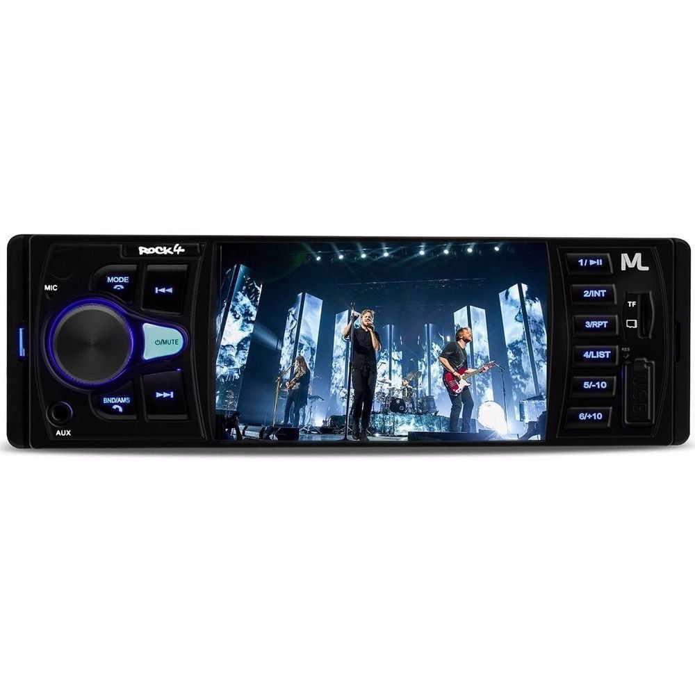 Som Automotivo Rock 4 Mp5 Radio Bluetooth Multilaser 1 Din Tela 4 pole