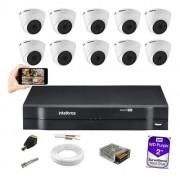 Kit 10 Câm Intelbras VHD 1120 Dome 3.6m G5 Dvr MHDX 1116 2TB