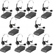 Kit 10 Telefones Headset Atendimento Telemarketing Hsb40