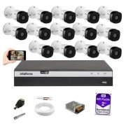 Kit 14 Câm Intelbras 1080p VHD 1220B G5 Dvr MHDX 3116 HD 2TB