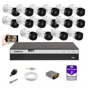 Kit 16 Câm Intelbras 1080p VHD 1220B G5 Dvr MHDX 3116 HD 2TB