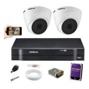 Kit 2 Câmeras Intelbras Vhl 1120 Dome 720p Dvr 4 Canais +1Tb