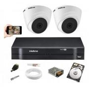 Kit 2 Câmeras Intelbras Vhl 1120 Dome 720p Dvr 4 Canais C/Hd