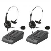 Kit 2 Telefones Headset Atendimento Telemarketing Hsb40