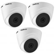 Kit 3 Câm Monitoramento Intelbras VHD 1120 Dome 3.6mm 720p
