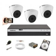 Kit 3 Câmeras 1220 D Intelbras Dvr Mhdx 3104 Full HD C/ HD