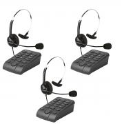 Kit 3 Telefones Headset Atendimento Telemarketing Hsb40