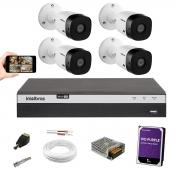 Kit 4 Câmeras Intelbras VHD 1220 B Dvr 3104 4 Canais 1 Tera