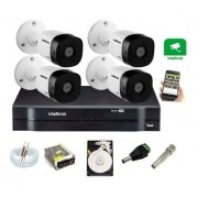 Kit 4 Câmeras Intelbras Vhl 1120 B 720p Dvr 4 Canais C/ HD