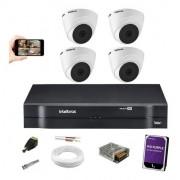 Kit 4 Câmeras Intelbras Vhl 1120 Dome 720p Dvr 4 Canais +1Tb