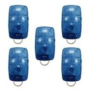 Kit 5 Controle Remoto 433 Mhz 4 Teclas Azul TX4 Linear