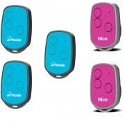 Kit 5 Controles Remoto Peccinin New Evo 2 Rosa 3 Azul nice