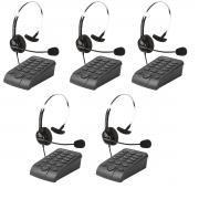 Kit 5 Telefones Headset Atendimento Telemarketing Hsb40