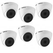 Kit 6 Cam monitoramento intelbras 1220 Dome 3.6mm Full HD
