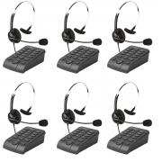 Kit 6 Telefones Headset Atendimento Telemarketing Hsb40