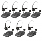 Kit 7 Telefones Headset Atendimento Telemarketing Hsb40