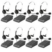 Kit 8 Telefones Headset Atendimento Telemarketing Hsb40
