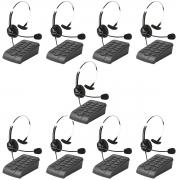 Kit 9 Telefones Headset Atendimento Telemarketing Hsb40