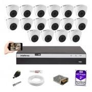 Kit CFTV 16 Câm 1080p Intelbras VHD 1220D Dvr MHDX 3116 +2TB