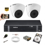 Kit Cftv 2 Câm Intelbras Vhd 1010 Dome 720p Dvr 1104 +1TB