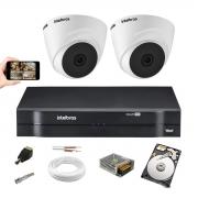 Kit Cftv 2 cam. Intelbras Vhl 1120 Dome 720p Dvr 1104  1Tera
