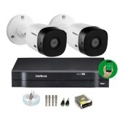 Kit Cftv 2 Câm.  Intelbras Vhl 1120b 20m Dvr 4 Canais s/ HD