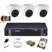Kit Cftv 3 Câm Intelbras Vhd 1010 Dome 720p Dvr 1104 C/ 1TB